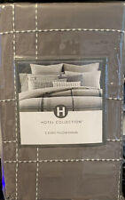 Set of 2 Hotel Collection Modern Plaid Geometric Beige Cotton Euro Sham-New $160
