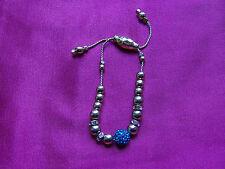 Shambala Bracelet Gold Tone & Turquoise Crystal Bead Diamante Details, UK Seller
