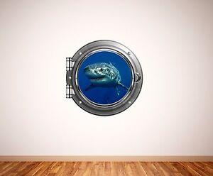 Great white shark underwater porthole wall sticker 006