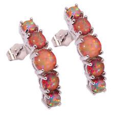 """Orange Fire Opal Silver Fashion Women Jewelry Gemstone Stud Earrings 1"""" OH2927"""