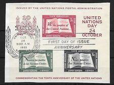 NACIONES UNIDAS NEW YORK. IVERT Nº 1 HOJA BLOQUE USADA