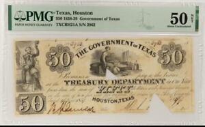 1838-39 $50 Government of Texas, SN 2962 PMG AU 50 Net TXCRH21A
