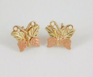 12k / 14k Black Hills Gold Butterfly Earrings