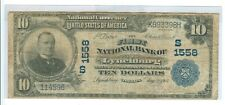 1902 TEN DOLLARS NATIONAL BANK NOTE LYNCHBURG, VA #1558  - CIR