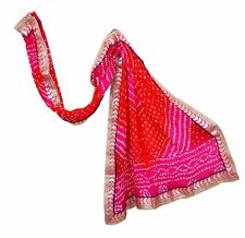 Women Art Silk Weaving Bandhani Dupatta Tippet Scarf Traditional Wear