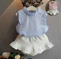 2Pcs Kids Baby Girls Sleeveless Tops T-shirt+Falbala Shorts Pants Outfits Sets