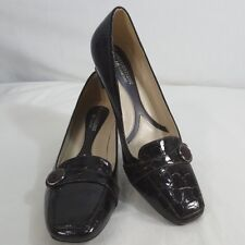 Naturalizer Sz 7 M Brown Embossed Pump Fulton Slip On Shoe No 5 Kitten Heel NWOB