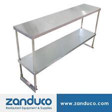"""Zanduco Stainless Steel 14"""" x 48"""" x 32"""" Double Tier Overshelf w/ Leg and Socket"""