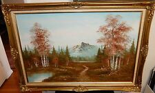 BENNY LARGE OIL ON CANVAS RIVER MOUNTAIN LANDSCAPE PAINTING