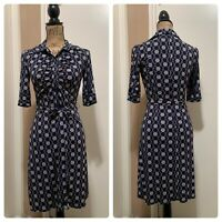 Laundry by Shelli Segal Womens 3/4 Sleeve Belted Dress Blue Size 2