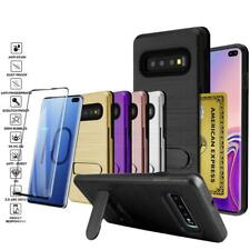 For Samsung S10/S10E/S10 Plus Shockproof Brushed Kickstand Case W/ Glass Screen