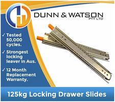 """406mm 125kg Locking Drawer Slides / Fridge Runners - 250lb, 16"""", Draw, Trailer"""