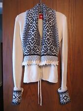 Oilily Ivory & Gray Wool Knit Nordic Scarf Neck Button Front Tie Back Cardigan M