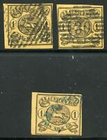 GERMANY STATES BRUNSWICK SCOTT# 7 MICHEL# 6 USED LOT OF 3 AS SHOWN