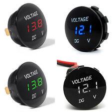 Waterproof Mini Round Panel DC 12V Boat LED Car Digital Display Voltmeter Meters