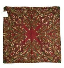 "Pottery Barn Deep Red Paisley Floral Pillow Cover 24"" NWT"