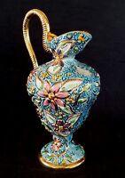 Vintage Belgium ceramic Majolica pitcher, 10.5 inches