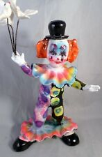 Vintage 50s 8 Inch Multi Colored Clown Black Hat 3 Dove Birds Hand Blown Plastic
