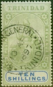 Trinidad 1896 10s Green & Ultramarine SG123 Good Used Registrar General CDS