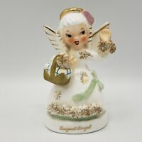 Vintage NAPCO A1368 AUGUST Birthday Angel FIGURINE Spaghetti Trim Japan 1950's