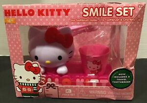 NEW HELLO KITTY SMILE SET TOOTHBRUSH ~ HOLDER & RINSE CUP GIFT SET
