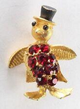 Brooch Pin - Penguin - Top Hat - Red Rhinestones - Black Enamel - Gold Tone