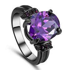 Size 8 Purple Amethyst CZ Wedding Ring Black Rhodium Plated Women's Jewelry
