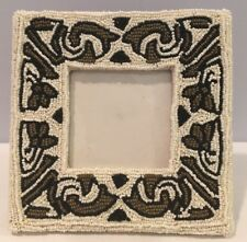 """Nwot Multi Colored Seed Bead Square 3""""x3"""" Picture Frame Made In Phiippines New!"""