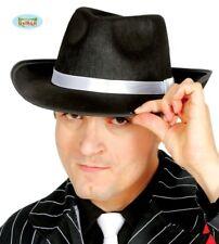 Cappello nero con nastro bianco per travestimento gangster Michael Jackson