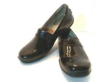 Ahnu Womens Jackie Pro Low Clog Comfort Shoes Black Patent Leather size 7