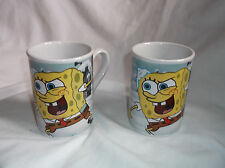 2 Viacom 2007 SPONGEBOB SQUAREPANTS & Patrick Snowball Fight Mugs Cups