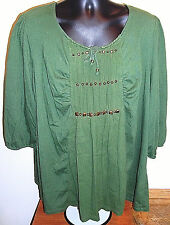 Just My Size Hunter Green Studded Front T-Shirt Size 3X 22W-24W Plus Size EUC