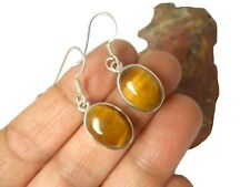 Oval  TIGER'S  EYE   Sterling   Silver  925  Gemstone  Earrings  -   Gift  Boxed