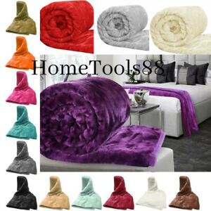 Faux Fur Roll Fleece Sofa Bed Warm Throw Mink Single,Double & King Bed Throw