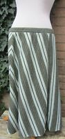Vintage Ladies 1960's Green Striped Skirt Size Large