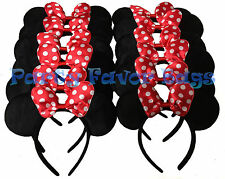 12 pcs Minnie Mouse Ears Headbands Black Red Party Favors Birthday Gift Mickey