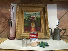 Vintage Jean Calogero Style Painting Oil On Board Impressionist Girl Hat Red