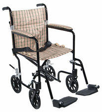 Drive Medical FW19DB Fly-weight Chair 19 Inch Tan Plaid