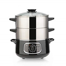 2 Stainless Steel Food Steamer 8.5 Qt Electric Glass Lid Vegetable Double Tiered