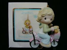 New ListingPrecious Moments Ornament-Girl/Bike-Puppy In Basket-Our Love Is A Wonderful Ride