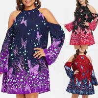 Women Halter Cold Shoulder Long Sleeve Butterflies Printed Mini Dress Plus P