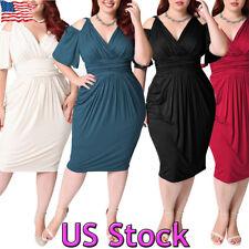 Plus Size Ladies V Neck Peplum Dress Sexy Cold Shoulder Bodycon Cocktail Party