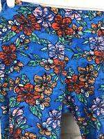 Lularoe LLR Leggings Blue With Orange Tropical Flowers One Size O/S