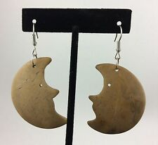 Coconut Shell Crescent Moon Dangle Earrings Faces Tan Brown Boho Celestial Funky
