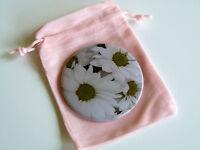Pocket Mirror Handbag Compact Make Up Flower Gift Bag Pouch Original White Daisy