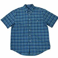 Towncraft  Shirt Button Down Short Sleeve Plaid Wrinkle Free L JC Penny