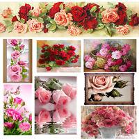 Blumen DIY 5D Stickereien Diamant Sticker Kreuzstich Malen Dekor Heim Rose