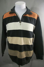 KITARO Men's Size L / Large 1/4 Zip Striped Long Sleeve Cotton Polo Shirt