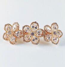 BARRETTE use Swarovski Crystal Hair Clip Hairpin Flower Elegant Gold Bridal 3