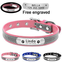 Soft Reflective Leather Personalised Dog Collar Custom Name ID Tags Pet Cat XS-L